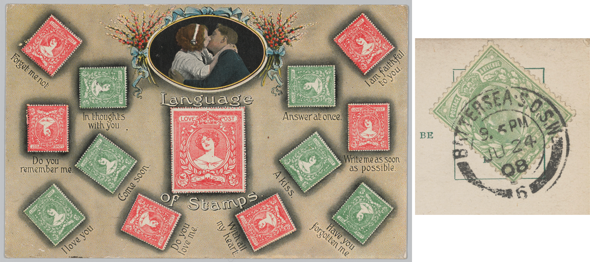 Postcard depicting the different angles a stamp can be affixed to a postcard to send a hidden message and an example of an angled stamp with postmark.