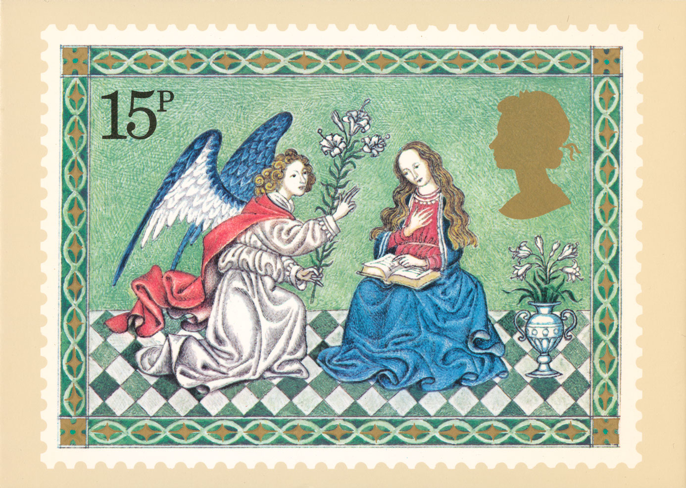 A stamp card depicting a stamp of the annunciation featuring an angel kneeling in front of the Virgin Mary.