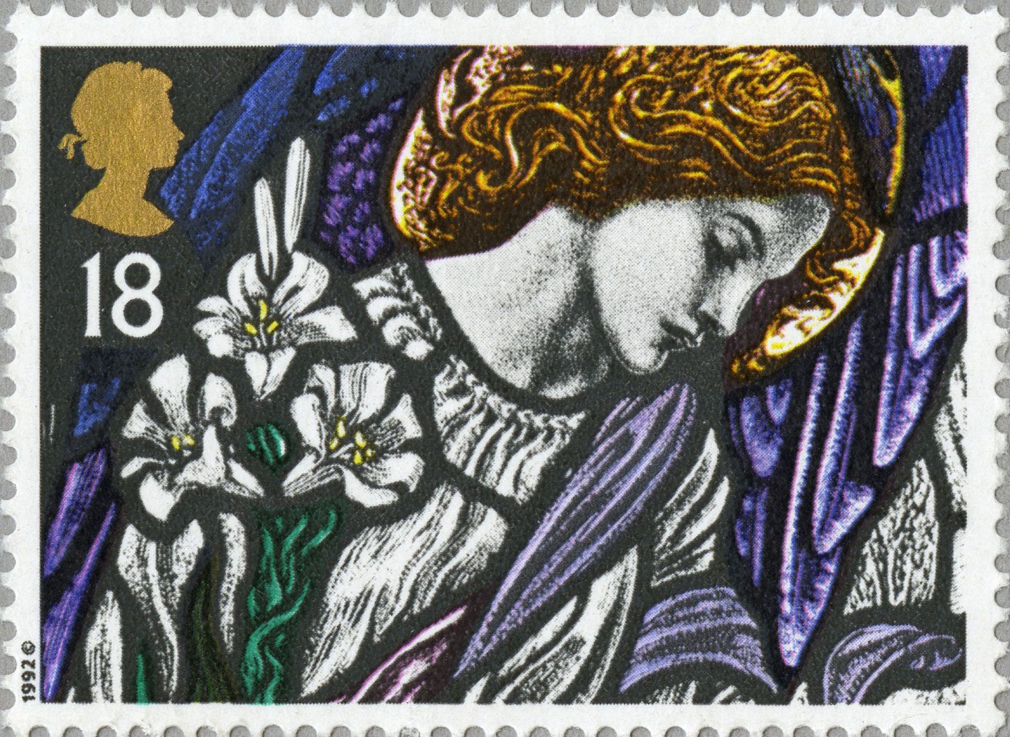 A stamp depicting the figure of Angel Gabriel in stain glass with a bunch of white lilies.