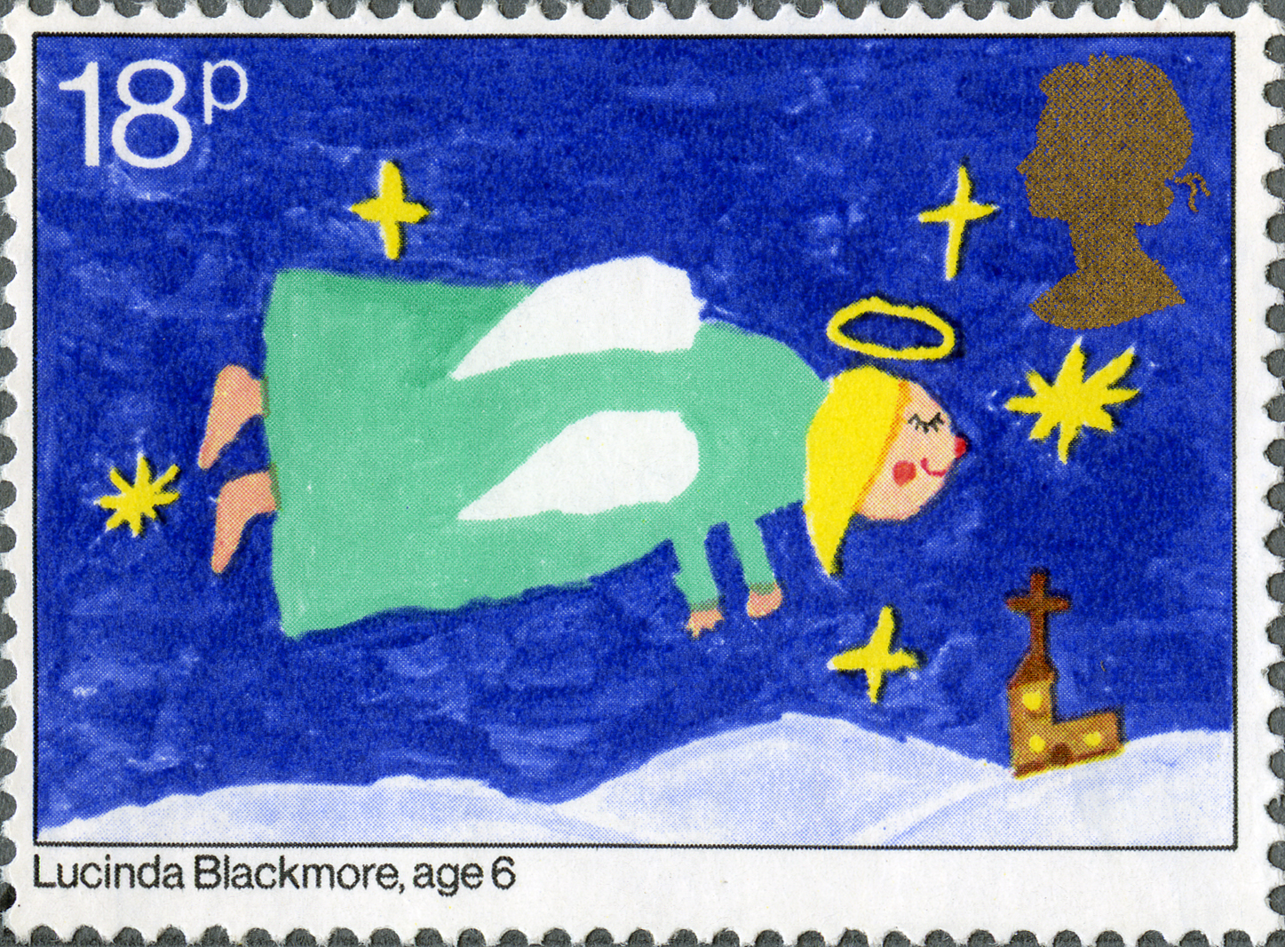 A stamp which depicts a child's painting of an angel flying above a landscape with a blue sky and gold stars.