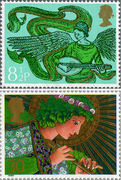 Two stamps showing green angels playing musical instruments. One is playing the mandolin and the other the flute.