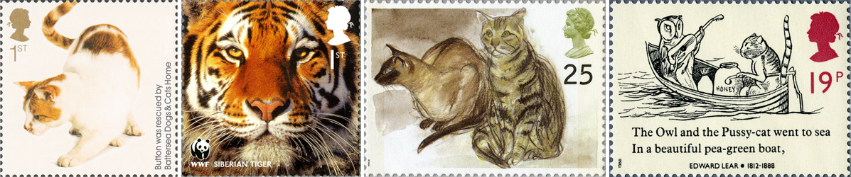 Four stamps of cats including an illustration of the 'Owl and Pussycat' and a close up image of a tiger's face.