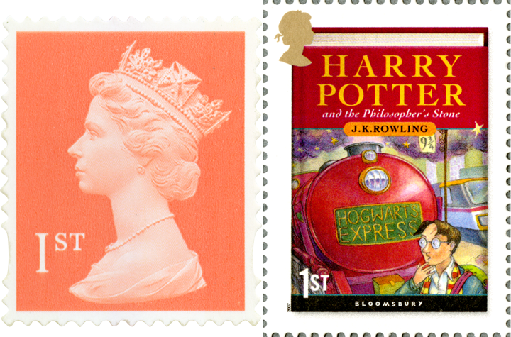 A red first class stamp next to a stamp of the Harry Potter book cover featuring the Hogwarts Express.