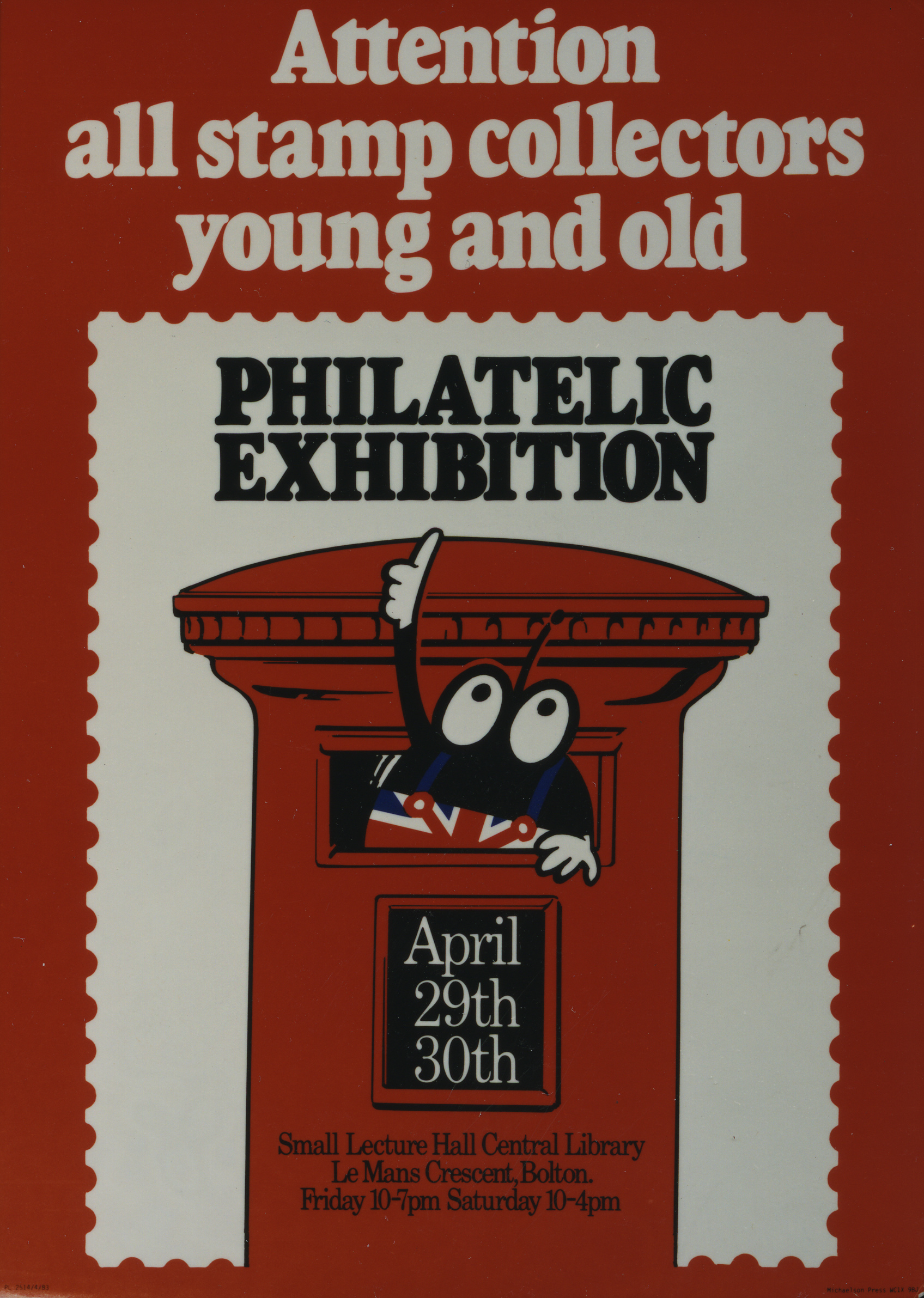 Poster of a bug inside a pillar box pointing at the text 'Philatelic Exhibition'.