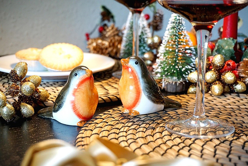 Photo showing Christmas robin-themed ceramic salt and pepper shakers.