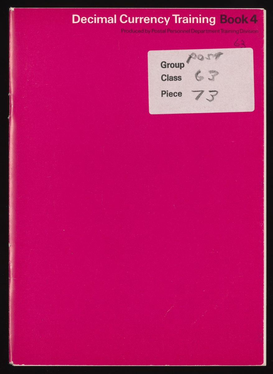 Decimal currency training cover in pink