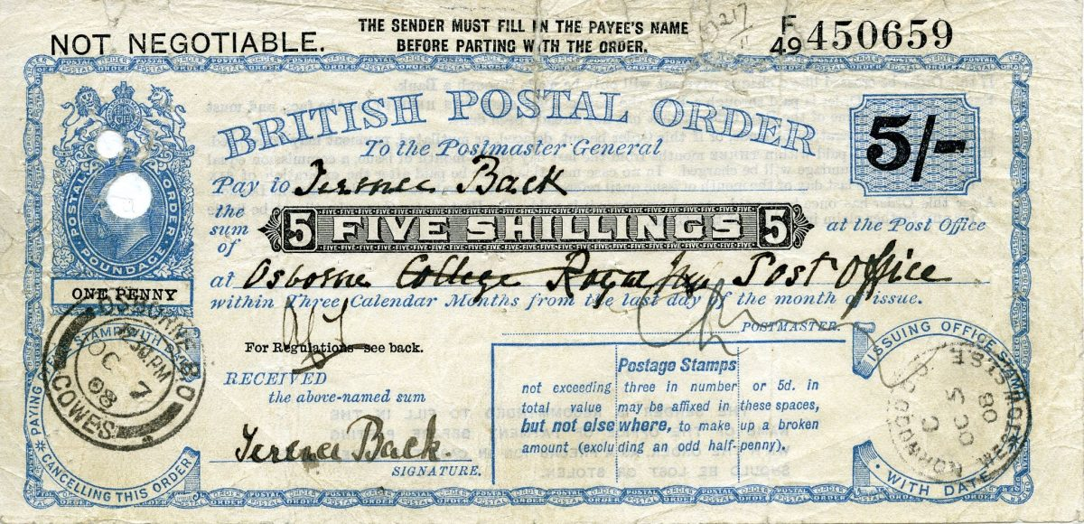 A rectangular postal order. Printed text reads 'British Postal Order. To the Postmaster General. Pay to [blank], the sum of five shillings, at [blank] within three calendar months from the last day of the month of issue'. Handwritten in black ink is 'Terence Back' in the first blank, and 'Osborn College Post Office' (partially crossed out) in the second blank. There are circular date stamps in the bottom left and right corners.