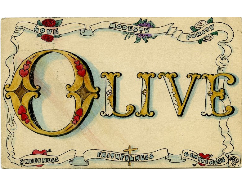 Romance: Olive | Romantic cards with secret messages illustrated and sent by Harry to his sweetheart Olive in the early years of the 20th century.