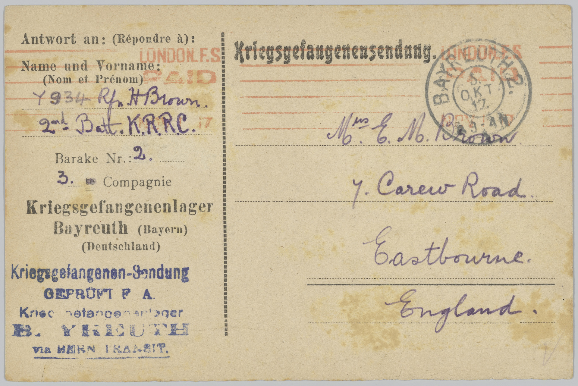German prisoner of war postcard including the name of the soldier and the address of the recipient.