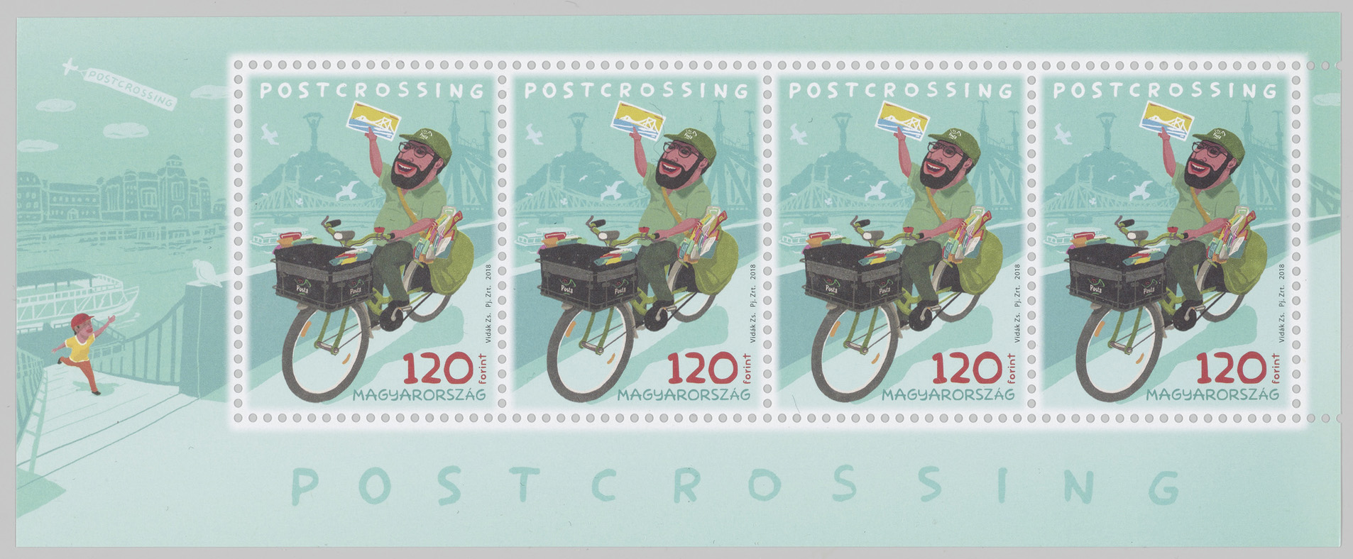 A miniature sheet of four stamps featuring a postal worker on a bike with a postcard in their hand.