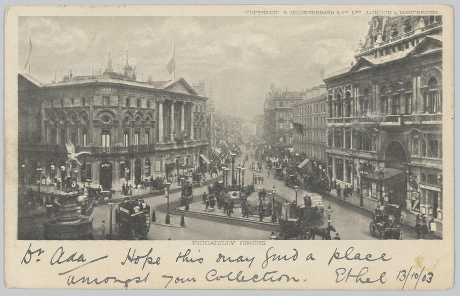 Pictorial postcard of Piccadilly Circus where the sender has written under the image.