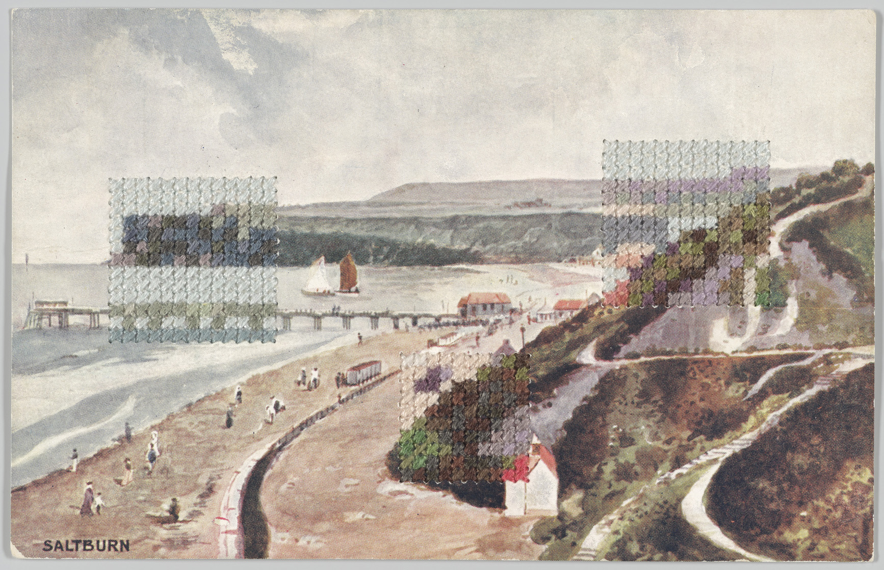 Coloured landscape postcard with three patches of embroidery stitches that mimic the design in colour and layout.