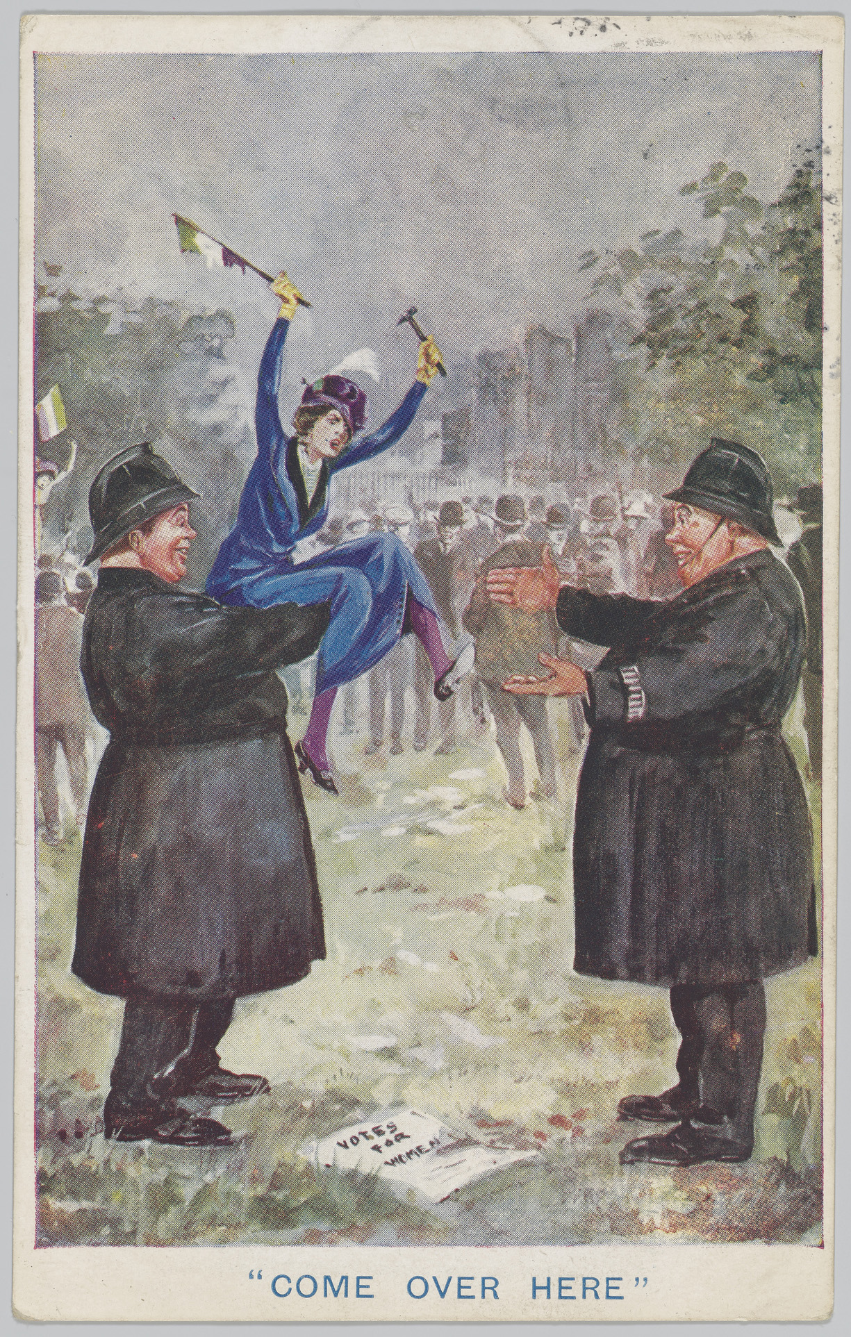Image of a small suffragette in a blue dress being lifted in the air by a large police officer.