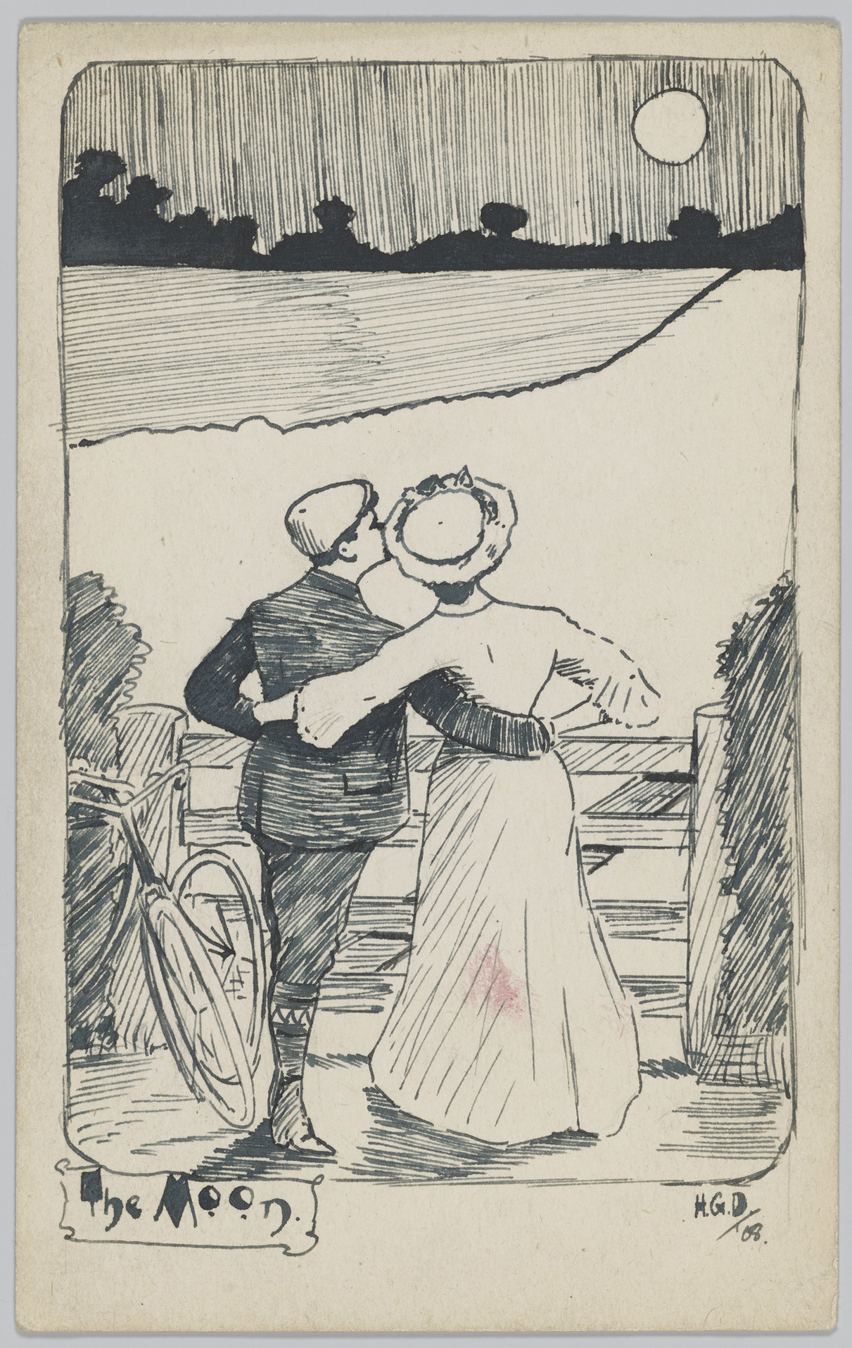 Ilustration of a couple holding each other looking up to the moon.