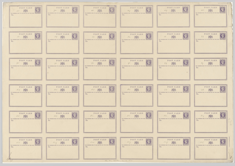 A large sheet consisting of 36 postcard images before cutting.