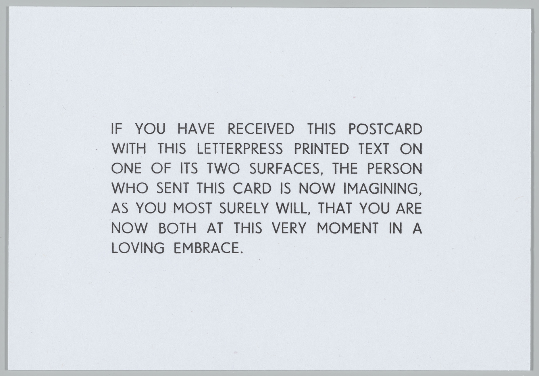 White postcard with black letterpress text.
