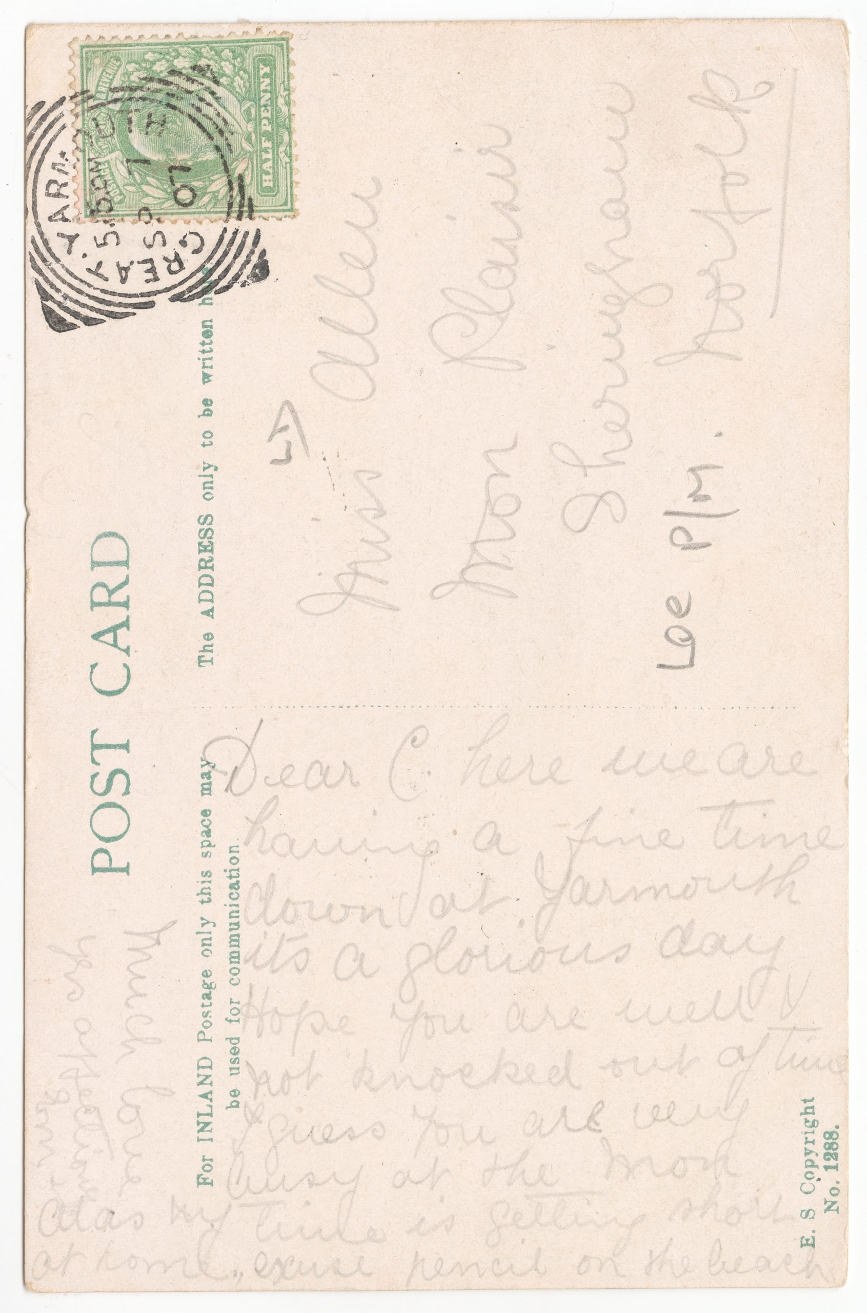 Handwritten postcard message that curves around to find more space for the text.