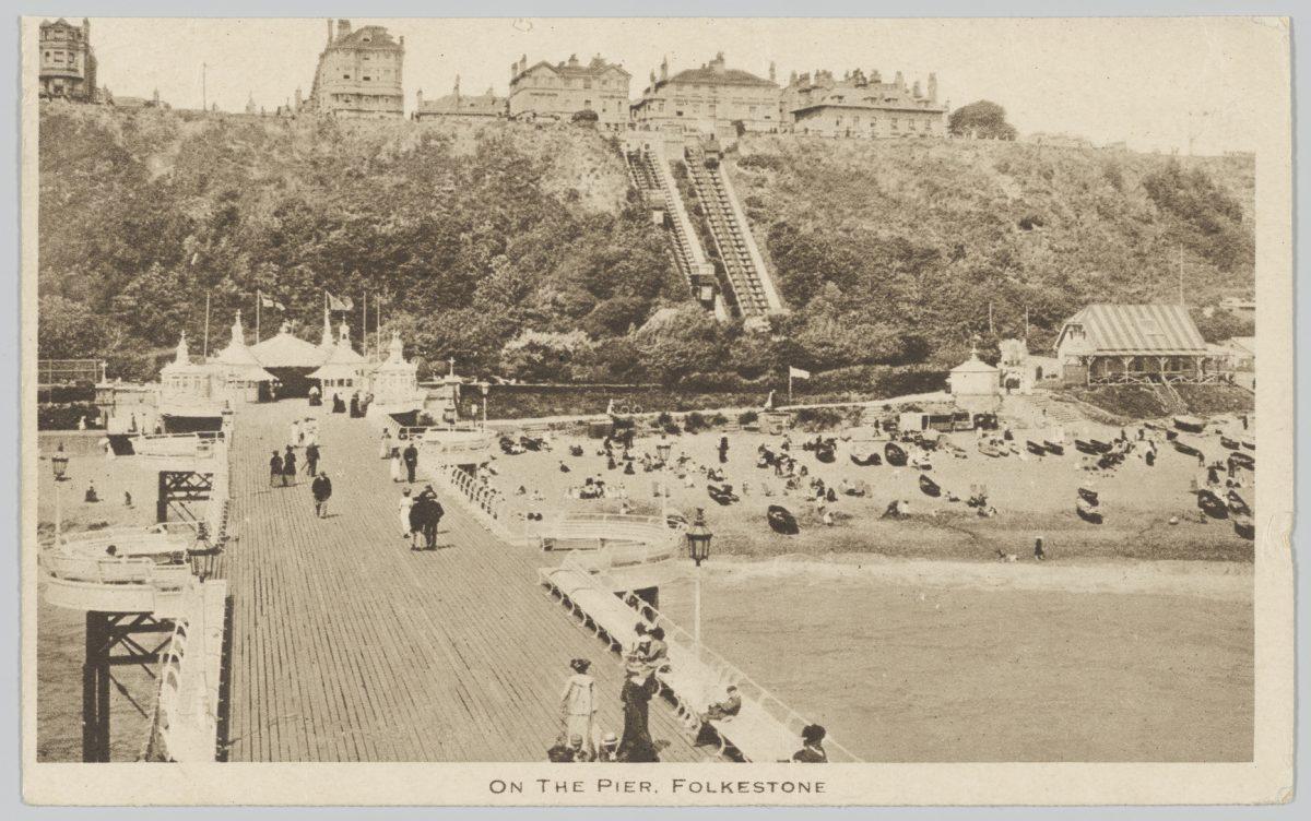 'On the pier, Folkestone' Postcard, 1920, PH64T/13b