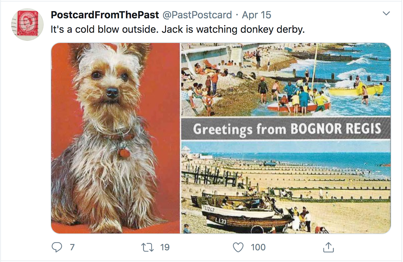 Visual of a tweet featuring a postcard image of Bognor Regis including boats and a dog.