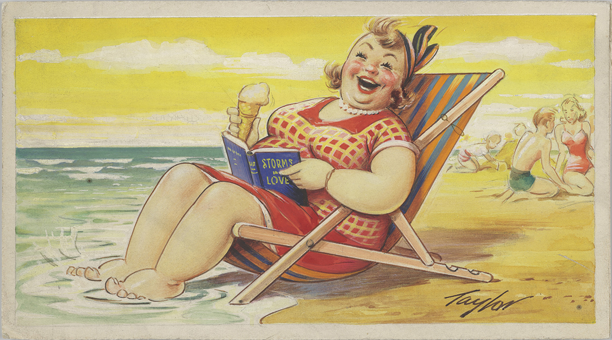 Lady in a deckchair Postcard artwork, c.1960-65 © Bamforth & Co, on loan from Kirklees Museums and Galleries, E16368/07