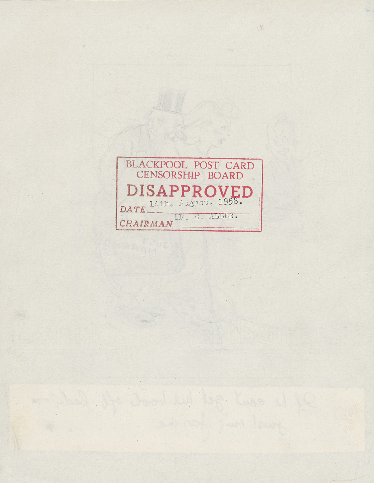 Disapproved stamp on reverse of sketch, 14 Aug 1958, © Bamforth & Co, on loan from Kirklees Museums and Galleries, E16367/01