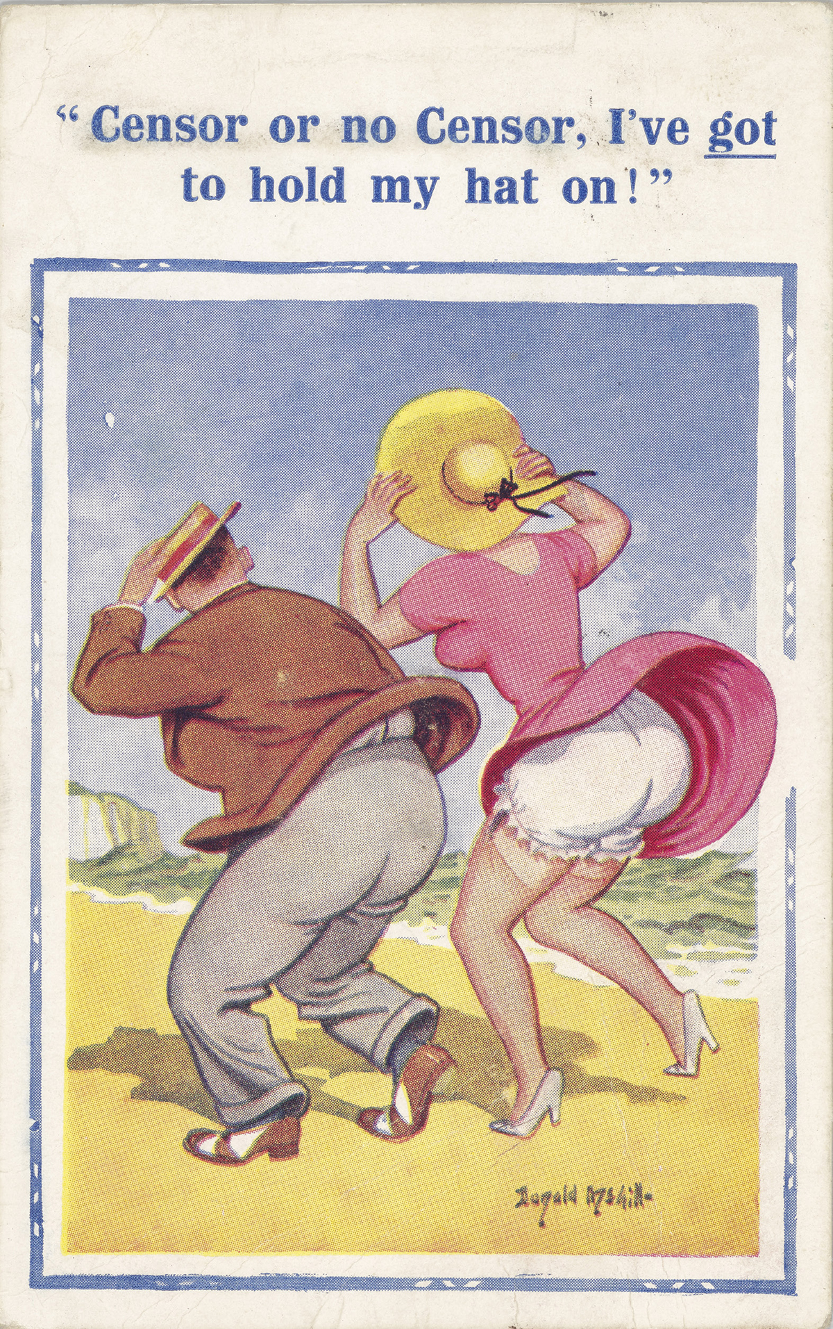Postcard with an image of a gentleman next to a lady in a pink dress which has been blown up revealing her undergarments.