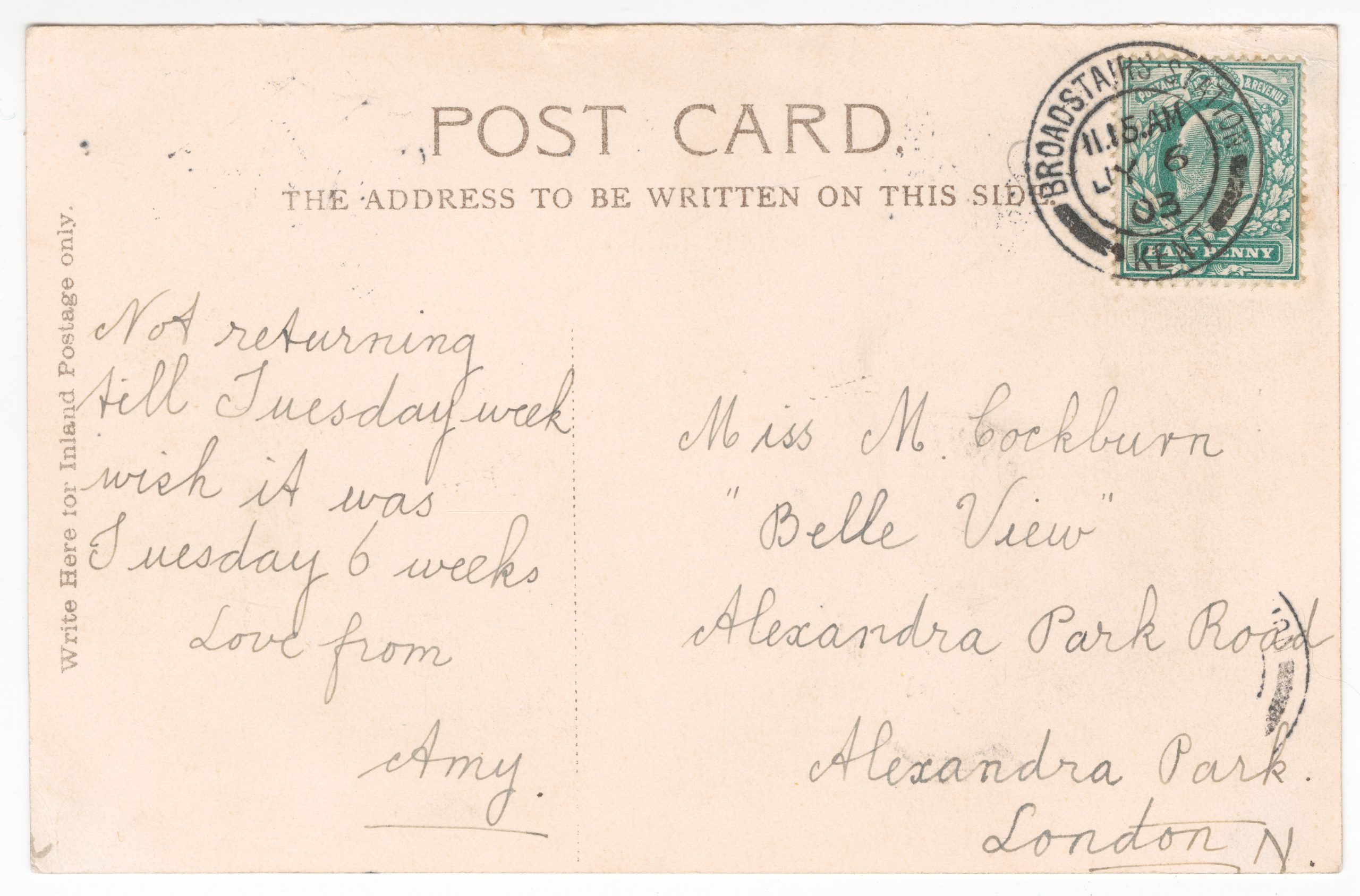 Handwritten postcard message with stamp cancelled from Broadstairs Station.