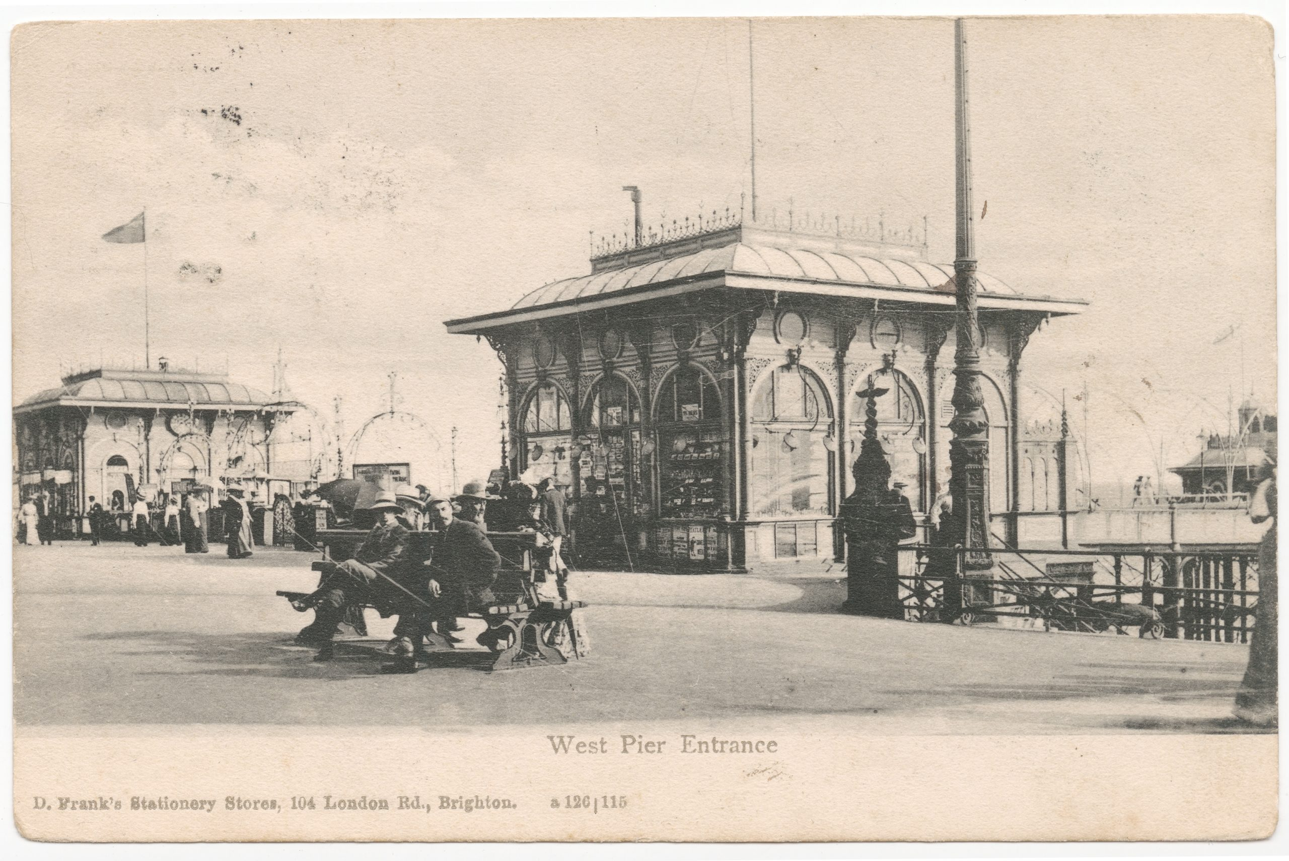 'West Pier Entrance' Postcard, 1904, PH39/04a (item not in exhibition)