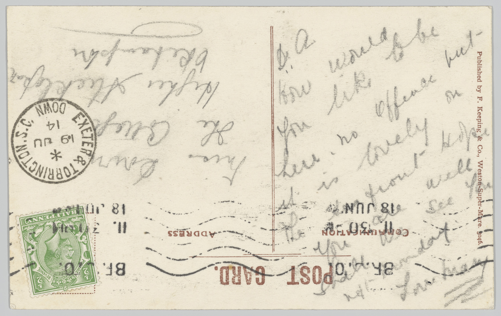 Reverse of the postcard with a hand written message upside down from the address.