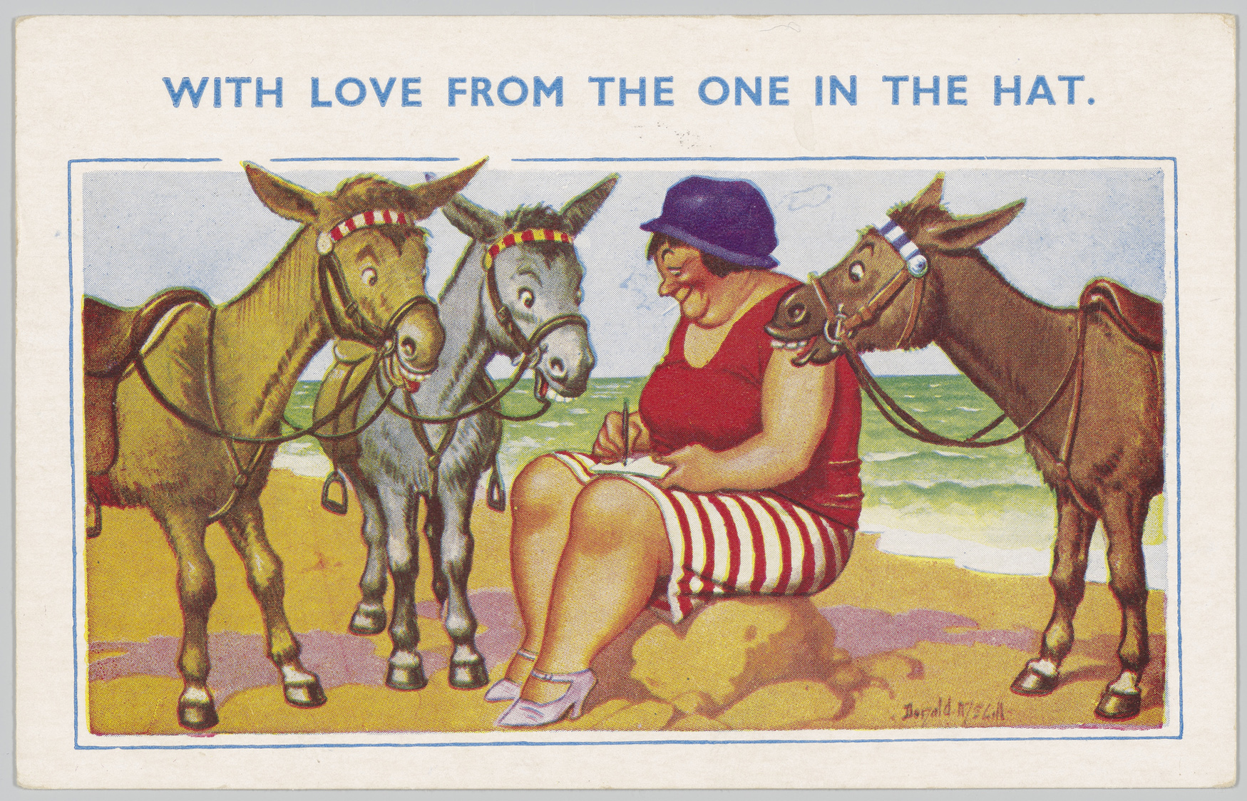 'With love from the one in the hat' Postcard, 1957 © Donald McGill, on loan from the Brown Family, E16361/06