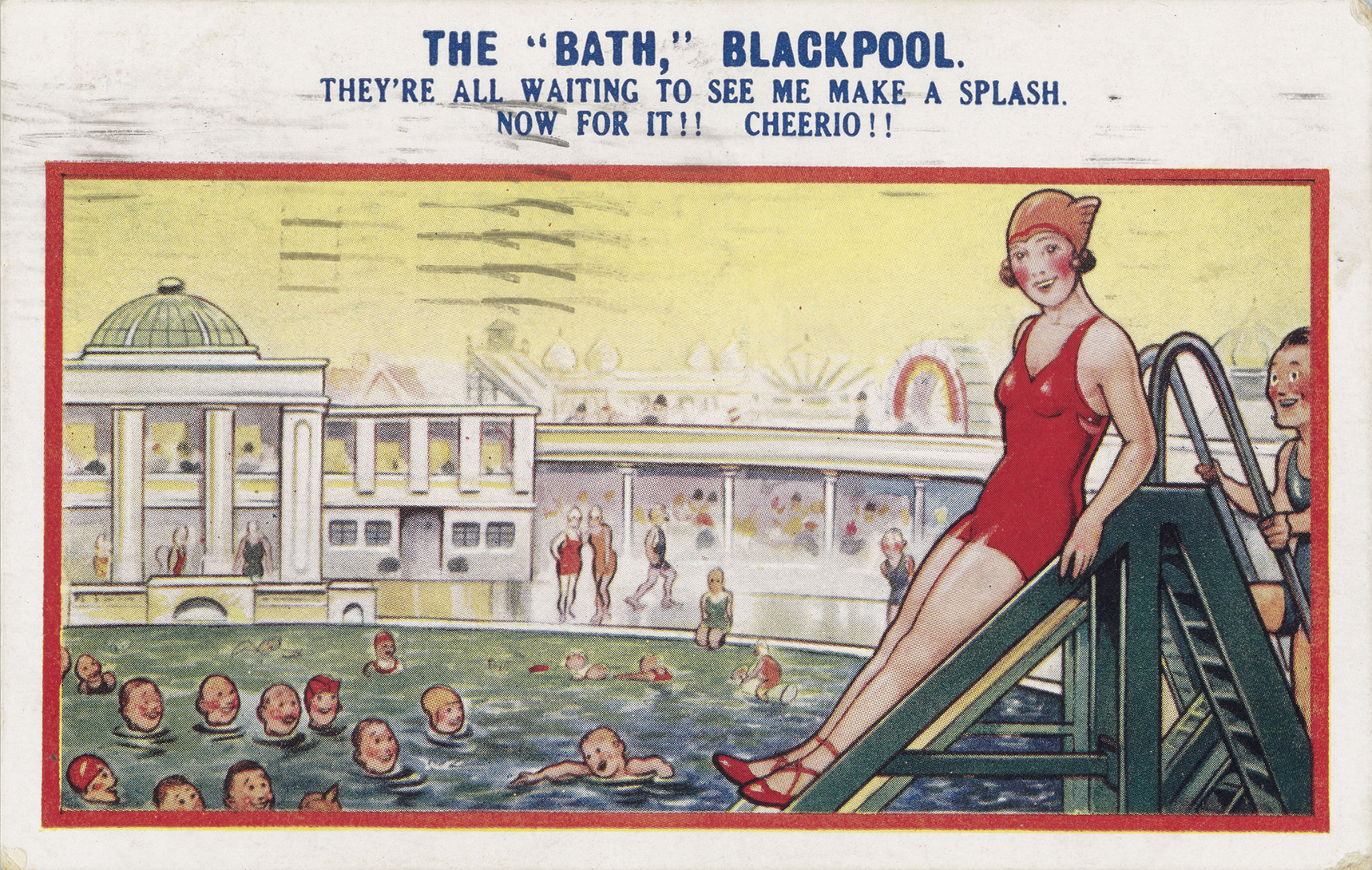 Postcard of a women in a red cap about to do down a slide into the water where may other people are swimming.