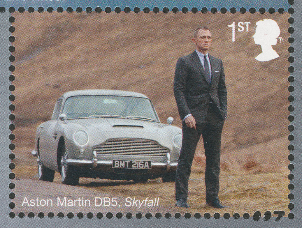 Stamp of Bond next to car with the numbers '007' in the perforation in the bottom right corner.