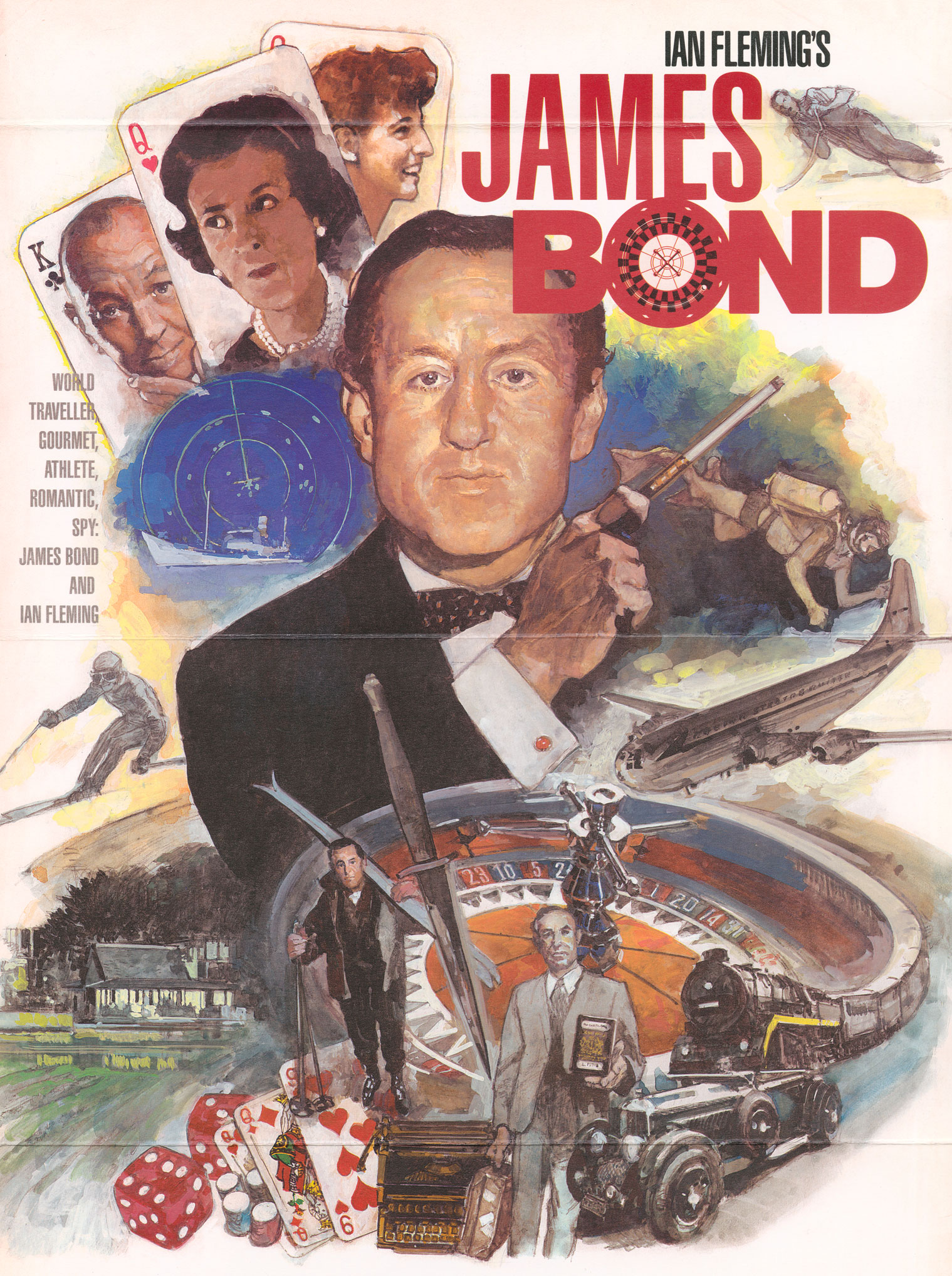 Illustrated image of Ian Fleming with playing cards, vehicles and a train.