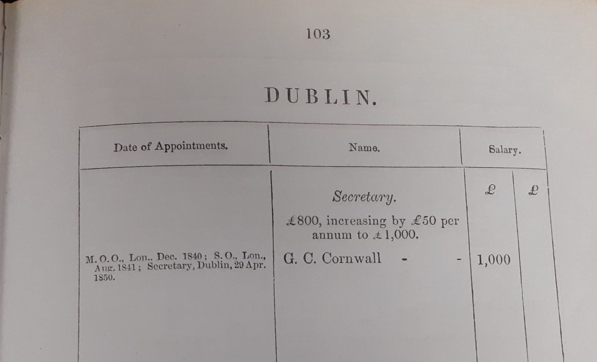 Page 103 of an Establishment Book. There is the heading 'Dublin' above a table. The left hand column is headed 'Date of appointments' and below that is 'M.O.O., Lon.. Dec. 1840; S.O., Lon., Aug. 1841; Secretary, Dublin, 29 Apr. 1850.'. The middle column is headed 'Name' and below that is 'Secretary. £800, increasing by £50 per annum to £1000. G. C. Cornwall'. The right hand column is headed 'Salary' and below that is £1000